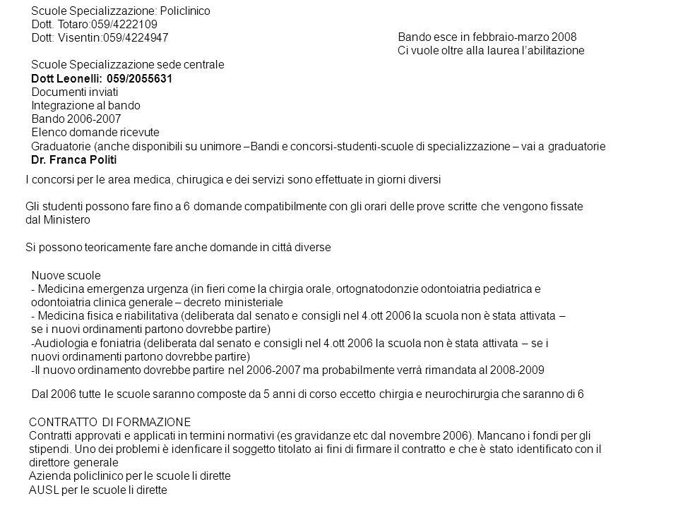 Scuole Specializzazione: Policlinico Dott.