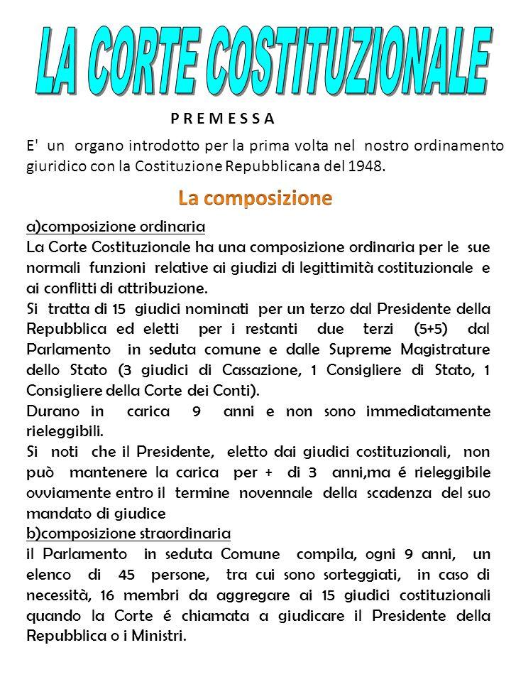 P R E M E S S A E' un organo introdotto per la prima volta nel nostro ordinamento giuridico con la Costituzione Repubblicana del 1948. a)composizione