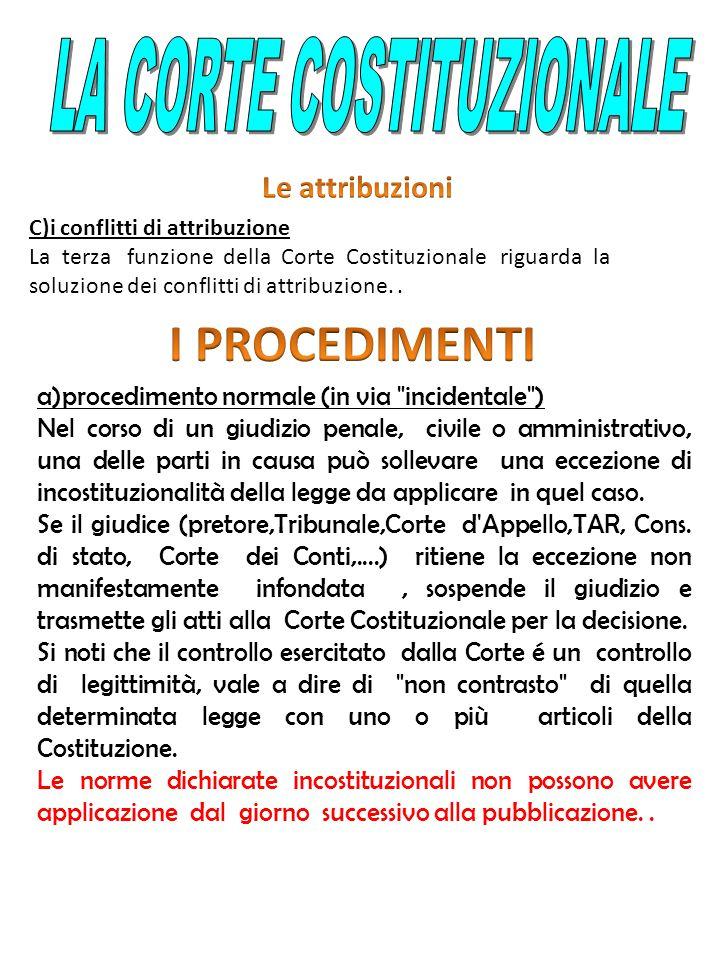 C)i conflitti di attribuzione La terza funzione della Corte Costituzionale riguarda la soluzione dei conflitti di attribuzione.. a)procedimento normal