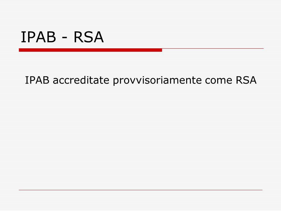IPAB - RSA IPAB accreditate provvisoriamente come RSA