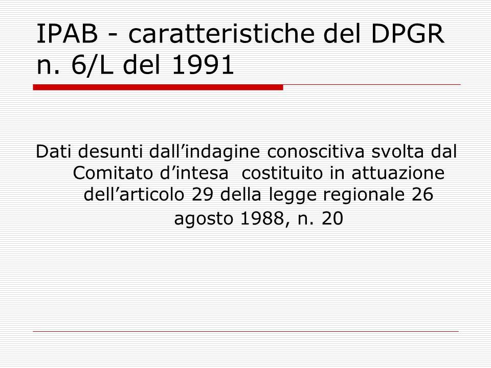 IPAB - caratteristiche del DPGR n. 6/L del 1991 Dati desunti dall'indagine conoscitiva svolta dal Comitato d'intesa costituito in attuazione dell'arti