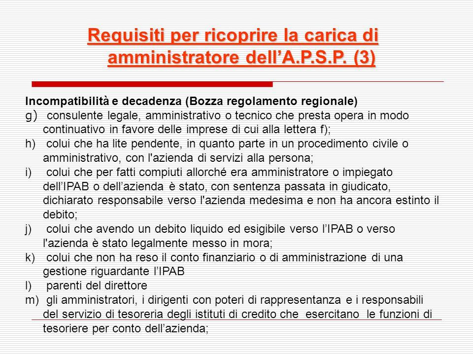 Requisiti per ricoprire la carica di amministratore dell'A.P.S.P. (3) Incompatibilità e decadenza (Bozza regolamento regionale) g) consulente legale,