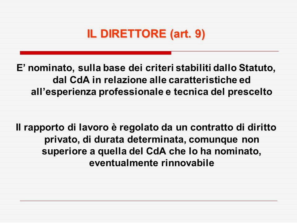 IL DIRETTORE (art. 9) E' nominato, sulla base dei criteri stabiliti dallo Statuto, dal CdA in relazione alle caratteristiche ed all'esperienza profess