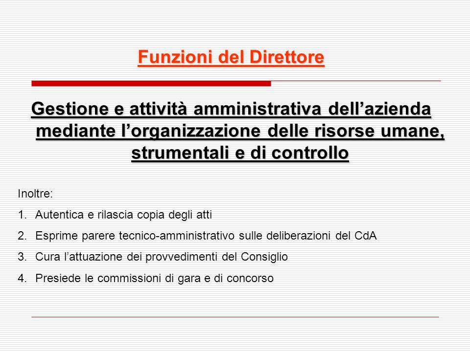Funzioni del Direttore Gestione e attività amministrativa dell'azienda mediante l'organizzazione delle risorse umane, strumentali e di controllo Inolt