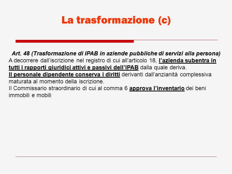 La trasformazione (c) Art. 48 (Trasformazione di IPAB in aziende pubbliche di servizi alla persona) l'azienda subentra in tutti i rapporti giuridici a