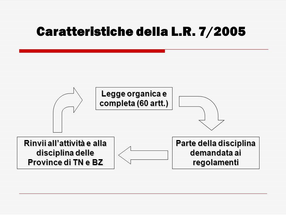 Caratteristiche della L.R. 7/2005 Legge organica e completa (60 artt.) Parte della disciplina demandata ai regolamenti Rinvii all'attività e alla disc