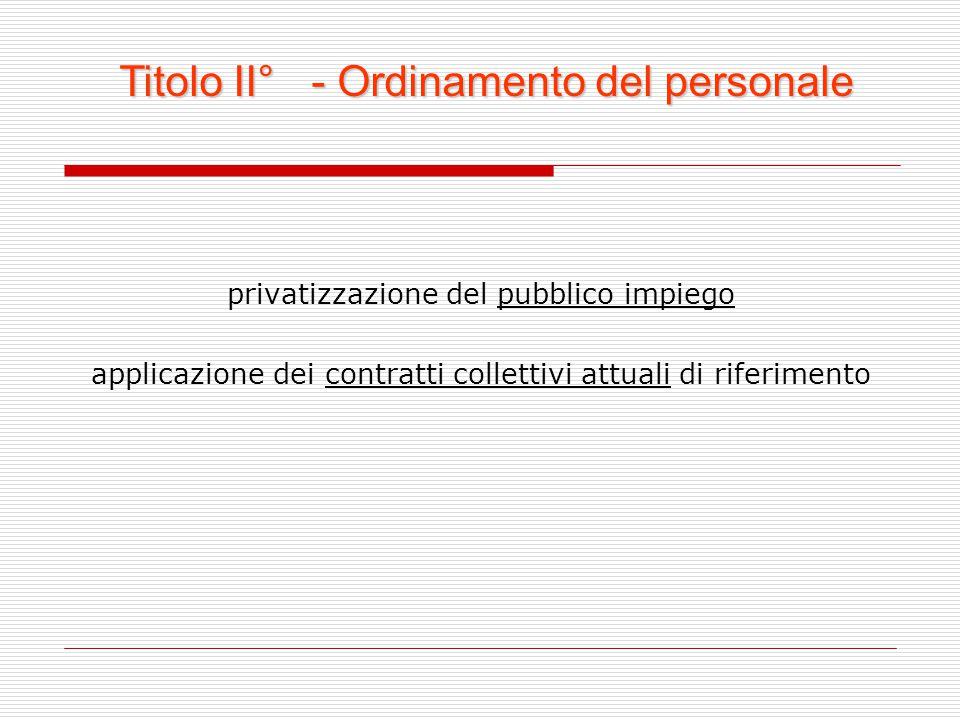 privatizzazione del pubblico impiego applicazione dei contratti collettivi attuali di riferimento Titolo II° - Ordinamento del personale