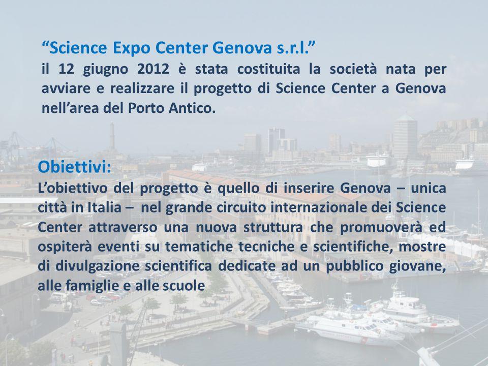 Science Expo Center Srl Science Expo Center Genova s.r.l. il 12 giugno 2012 è stata costituita la società nata per avviare e realizzare il progetto di Science Center a Genova nell'area del Porto Antico.