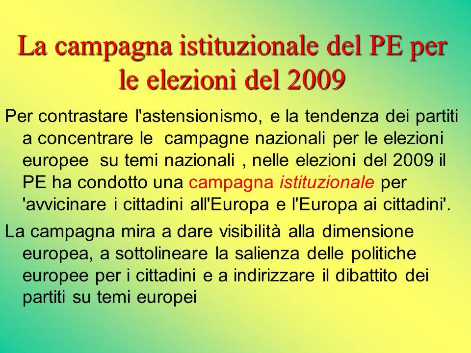 La campagna istituzionale del PE per le elezioni del 2009 Per contrastare l astensionismo, e la tendenza dei partiti a concentrare le campagne nazionali per le elezioni europee su temi nazionali, nelle elezioni del 2009 il PE ha condotto una campagna istituzionale per avvicinare i cittadini all Europa e l Europa ai cittadini .