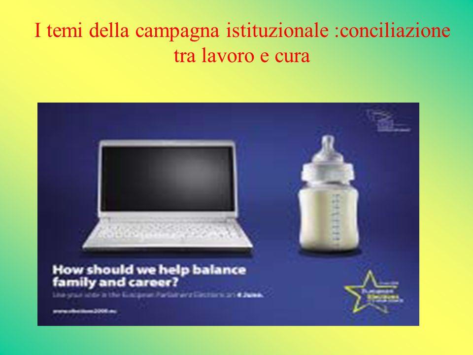 I temi della campagna istituzionale :conciliazione tra lavoro e cura