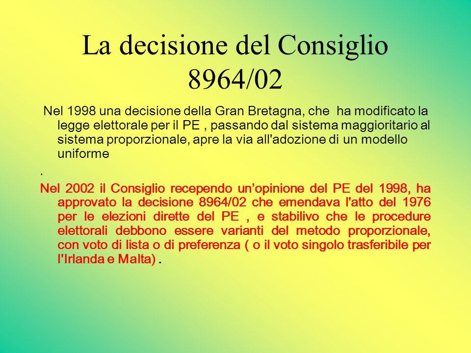 La decisione del Consiglio 8964/02 Nel 1998 una decisione della Gran Bretagna, che ha modificato la legge elettorale per il PE, passando dal sistema maggioritario al sistema proporzionale, apre la via all adozione di un modello uniforme.
