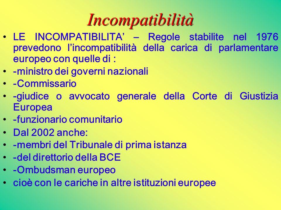 Incompatibilità LE INCOMPATIBILITA' – Regole stabilite nel 1976 prevedono l'incompatibilità della carica di parlamentare europeo con quelle di : -mini