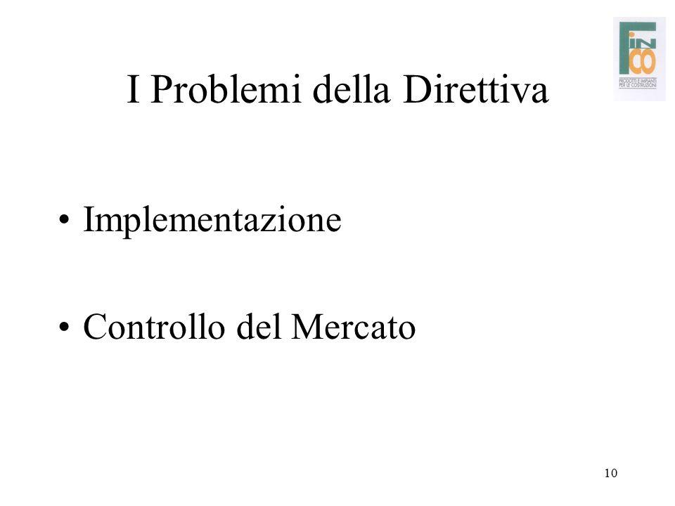 10 I Problemi della Direttiva Implementazione Controllo del Mercato