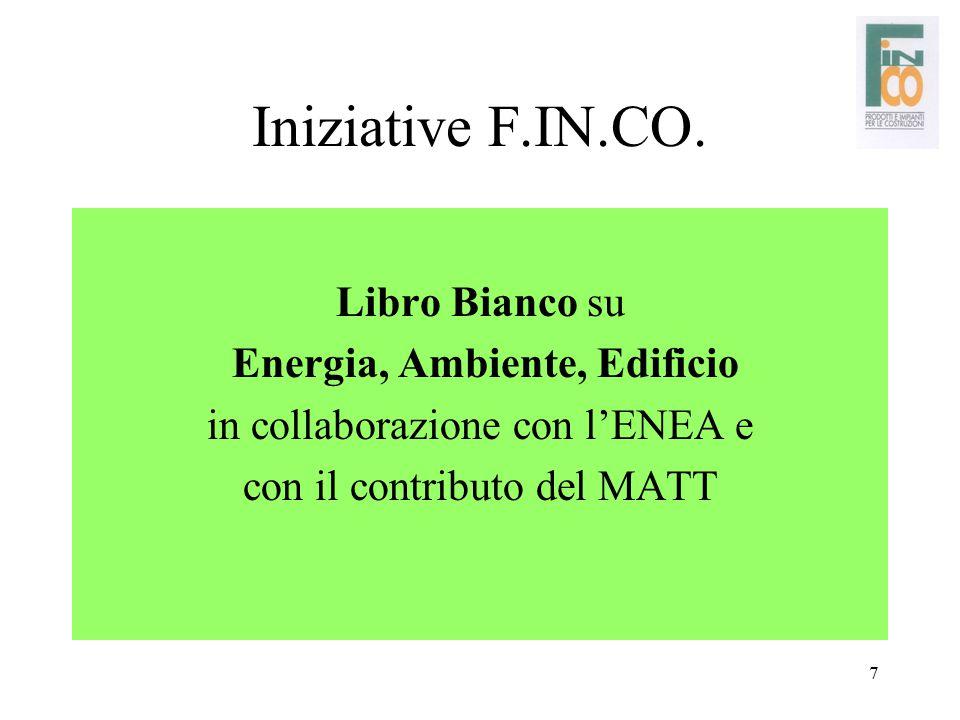 7 Iniziative F.IN.CO. Libro Bianco su Energia, Ambiente, Edificio in collaborazione con l'ENEA e con il contributo del MATT