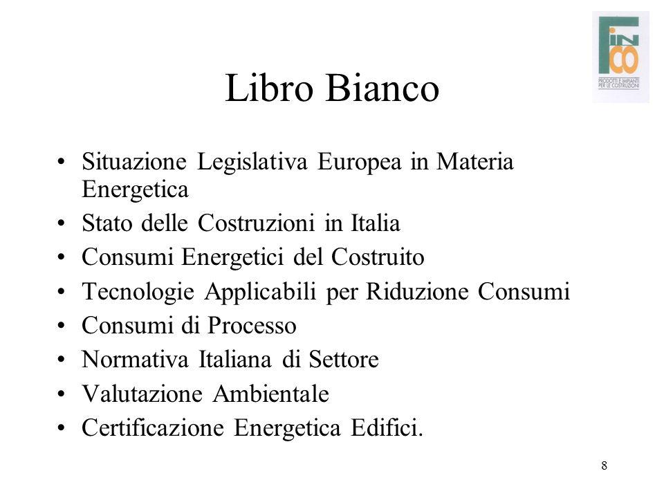 8 Libro Bianco Situazione Legislativa Europea in Materia Energetica Stato delle Costruzioni in Italia Consumi Energetici del Costruito Tecnologie Appl