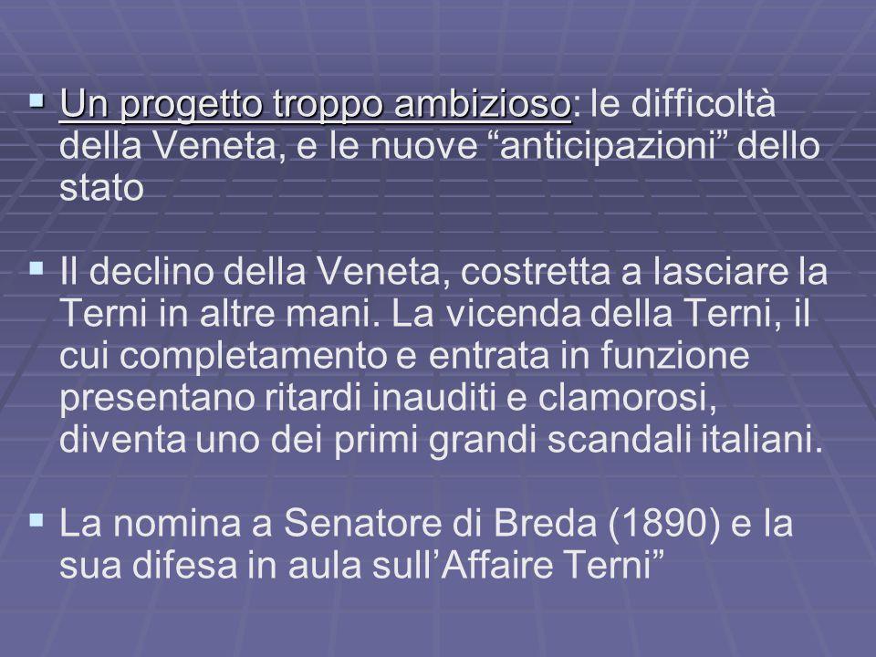  Un progetto troppo ambizioso  Un progetto troppo ambizioso: le difficoltà della Veneta, e le nuove anticipazioni dello stato   Il declino della Veneta, costretta a lasciare la Terni in altre mani.