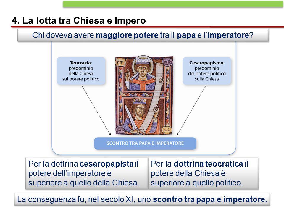Chi doveva avere maggiore potere tra il papa e l'imperatore? La conseguenza fu, nel secolo XI, uno scontro tra papa e imperatore. 4. La lotta tra Chie