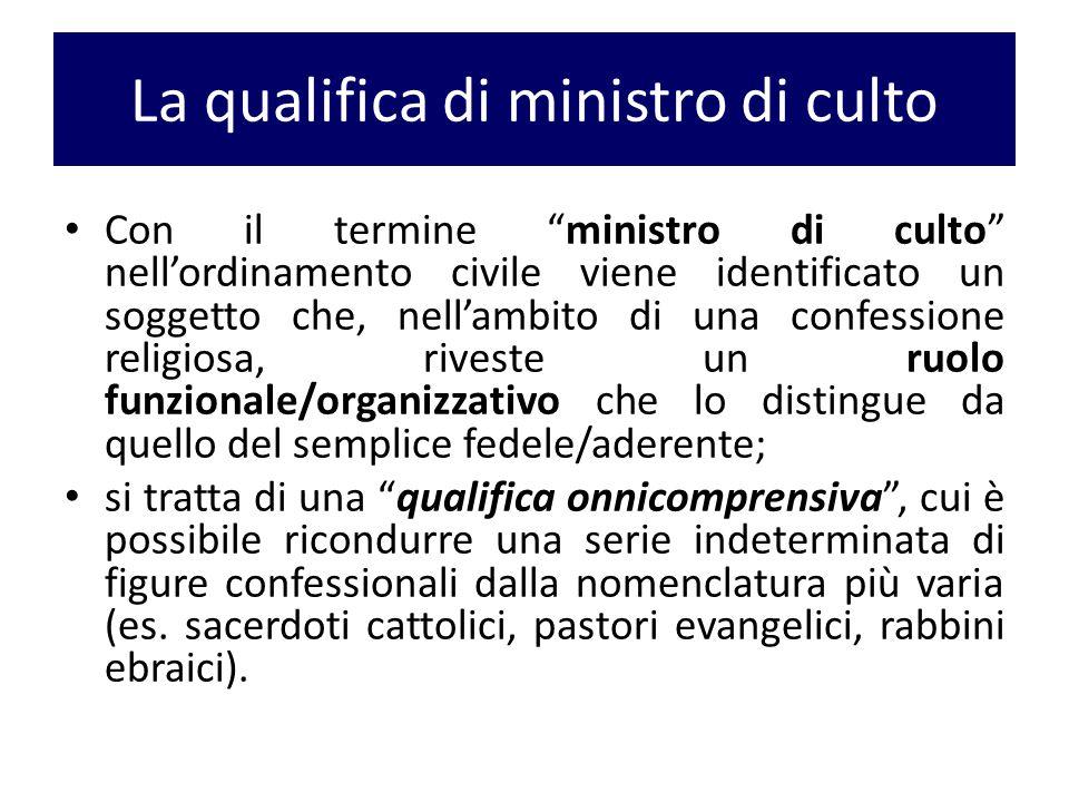 """La qualifica di ministro di culto Con il termine """"ministro di culto"""" nell'ordinamento civile viene identificato un soggetto che, nell'ambito di una co"""