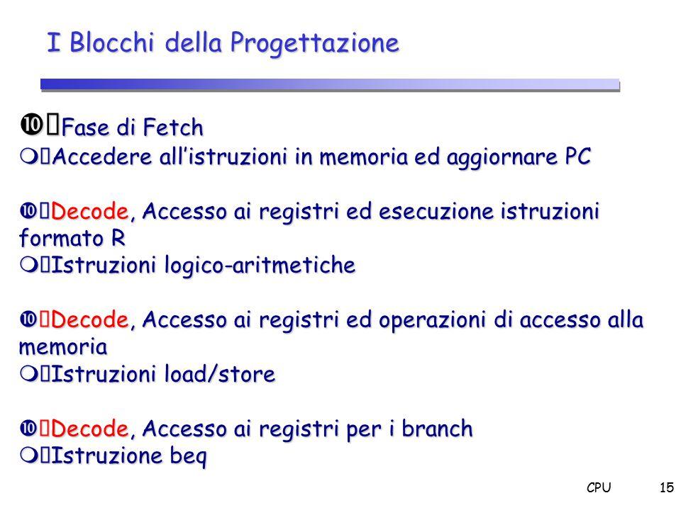CPU15 I Blocchi della Progettazione  Fase di Fetch  Accedere all'istruzioni in memoria ed aggiornare PC  Decode, Accesso ai registri ed esecuzione