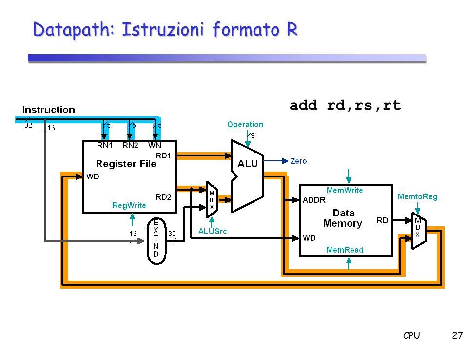 CPU27 Datapath: Istruzioni formato R add rd,rs,rt