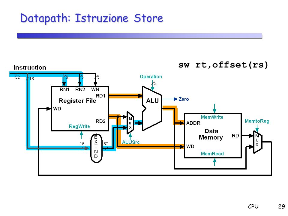 CPU29 Datapath: Istruzione Store sw rt,offset(rs)