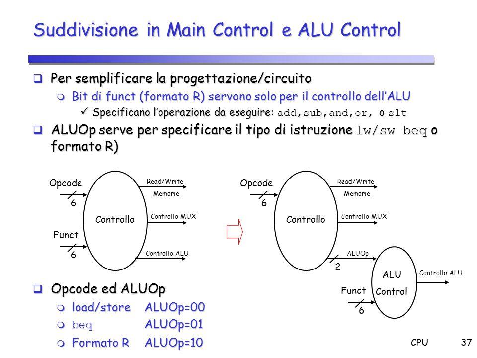 CPU37 Suddivisione in Main Control e ALU Control  Per semplificare la progettazione/circuito  Bit di funct (formato R) servono solo per il controllo