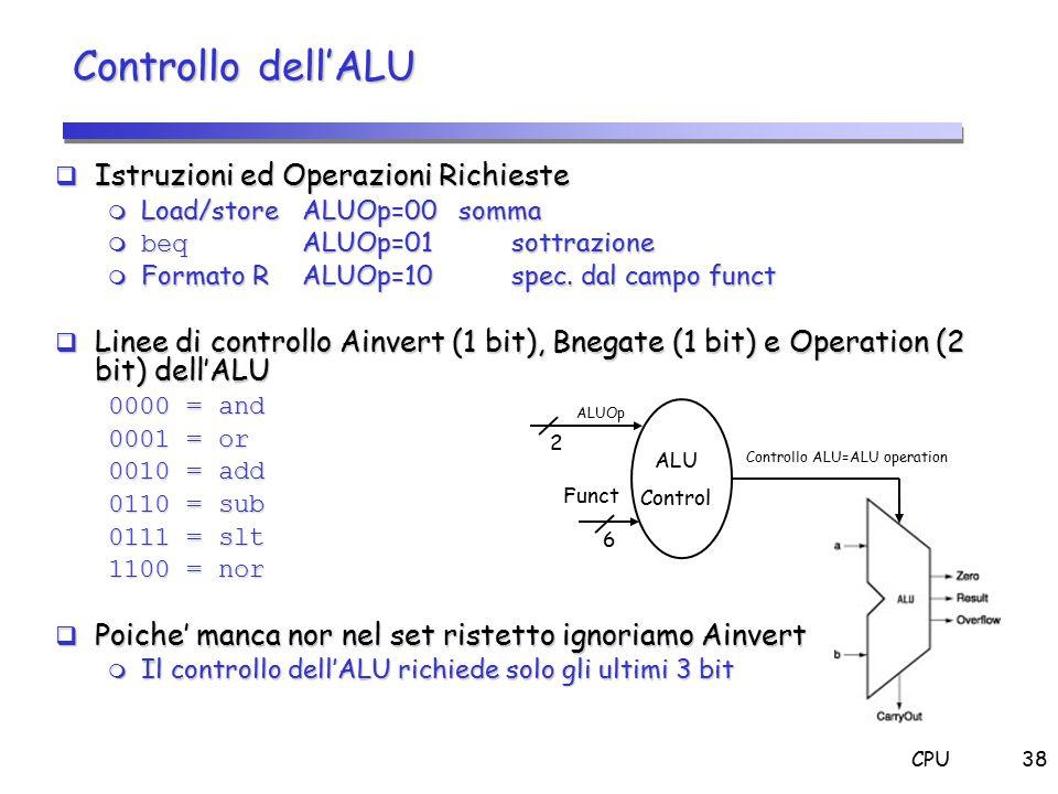 CPU38  Istruzioni ed Operazioni Richieste  Load/store ALUOp=00somma  beq ALUOp=01 sottrazione  Formato R ALUOp=10 spec. dal campo funct  Linee di