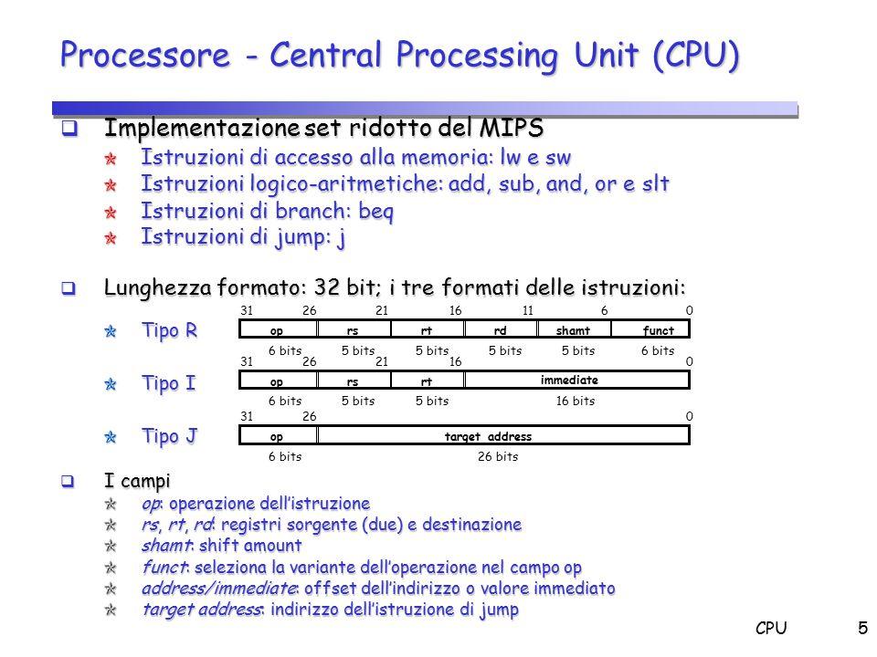 CPU5 Processore - Central Processing Unit (CPU)  Implementazione set ridotto del MIPS Istruzioni di accesso alla memoria: lw e sw Istruzioni logico-a