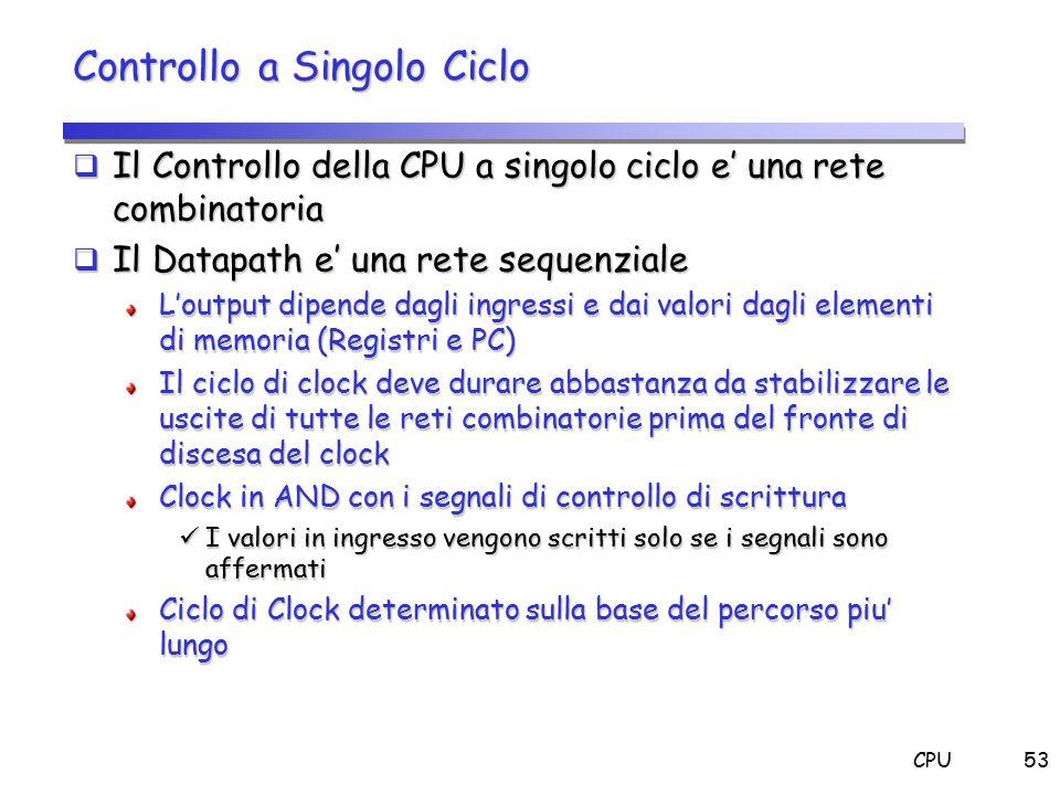 CPU53 Controllo a Singolo Ciclo  Il Controllo della CPU a singolo ciclo e' una rete combinatoria  Il Datapath e' una rete sequenziale L'output dipen