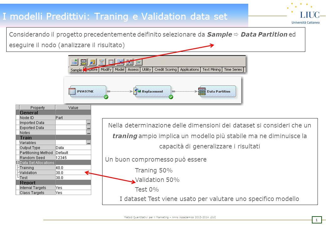 2 Metodi Quantitativi per il Marketing – Anno Accademico 2013-2014 LIUC I modelli Predittivi Più comuni Specifici per talune applicazioni Per sviluppare più modelli predittivi