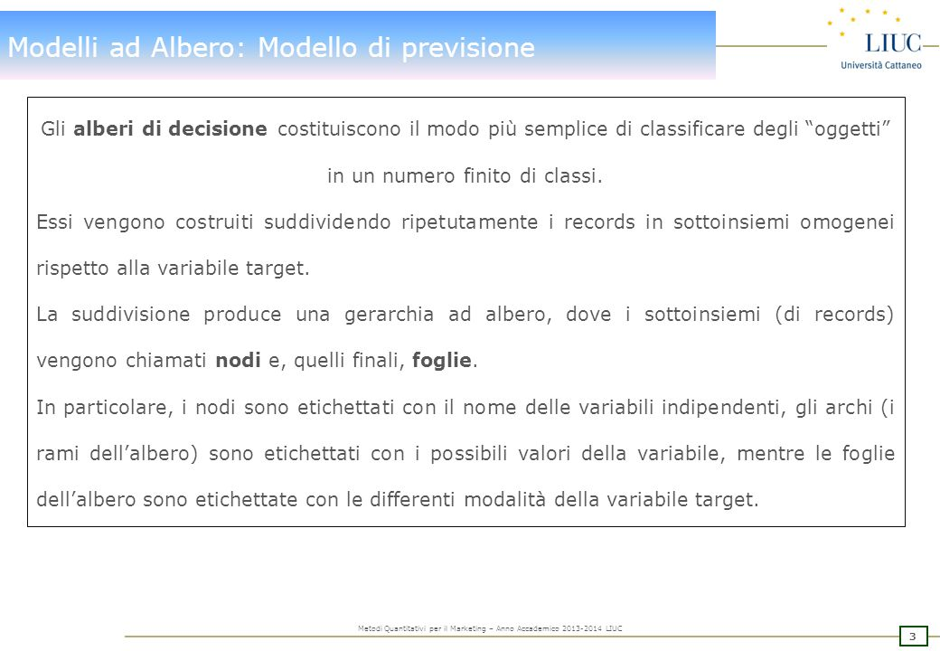 3 Metodi Quantitativi per il Marketing – Anno Accademico 2013-2014 LIUC Modelli ad Albero: Modello di previsione Gli alberi di decisione costituiscono il modo più semplice di classificare degli oggetti in un numero finito di classi.