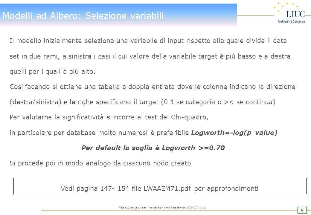 7 Metodi Quantitativi per il Marketing – Anno Accademico 2013-2014 LIUC Modelli ad Albero: Selezione variabili - esempio 955 5545 Acquista No Yes MASCHIO FEMMINA ORIGINALI 7525 7525 INDEPENDENTI Acquista No Yes Gradi di libertà = (r-1)*(c-1)=1 Pr {c 2 >42.67}= 6.47985E-11 numerosi Logworth = -log 10 (p-value) = 10.19