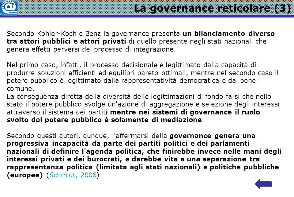 La governance reticolare (3) Secondo Kohler-Koch e Benz la governance presenta un bilanciamento diverso tra attori pubblici e attori privati di quello