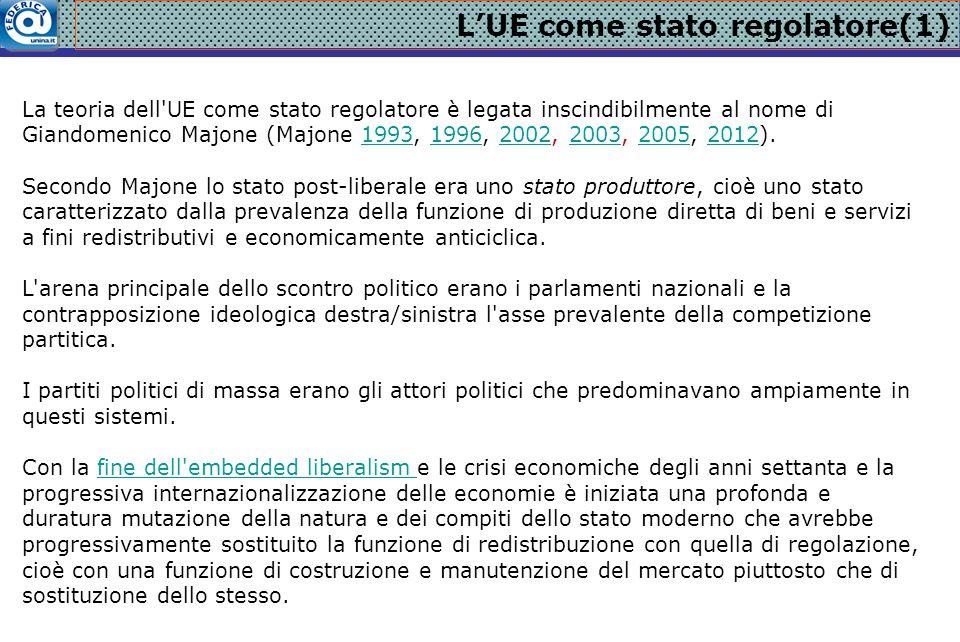 L'UE come stato regolatore(1) La teoria dell'UE come stato regolatore è legata inscindibilmente al nome di Giandomenico Majone (Majone 1993, 1996, 200