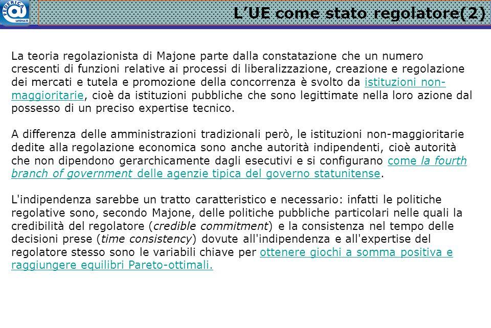 L'UE come stato regolatore(2) La teoria regolazionista di Majone parte dalla constatazione che un numero crescenti di funzioni relative ai processi di
