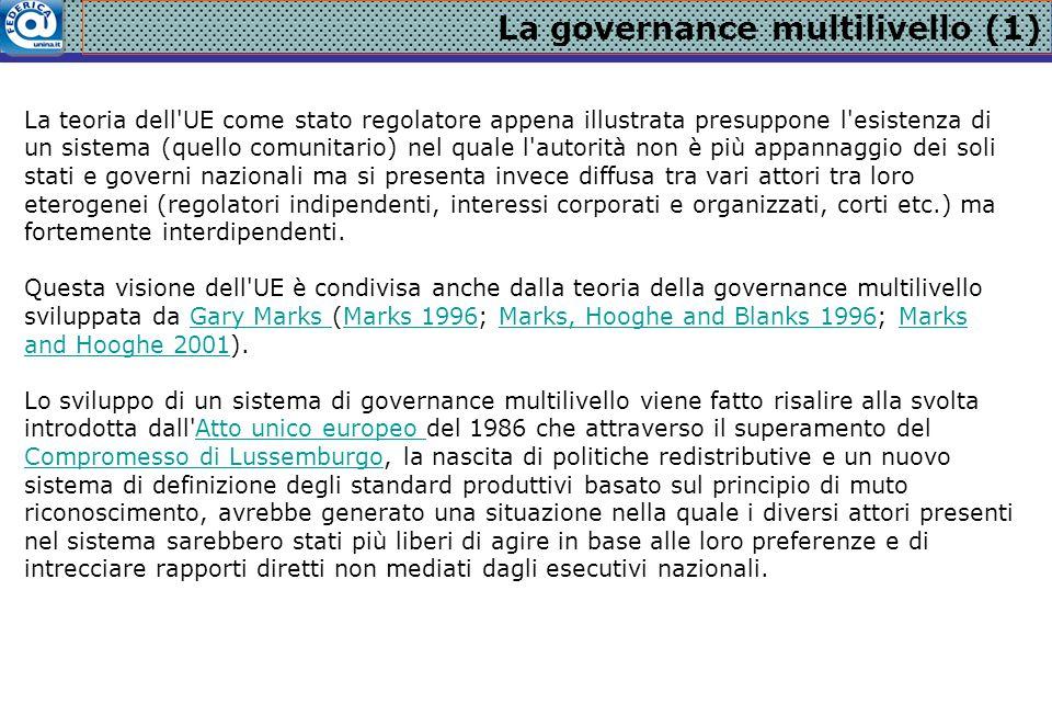 La governance multilivello (1) La teoria dell'UE come stato regolatore appena illustrata presuppone l'esistenza di un sistema (quello comunitario) nel