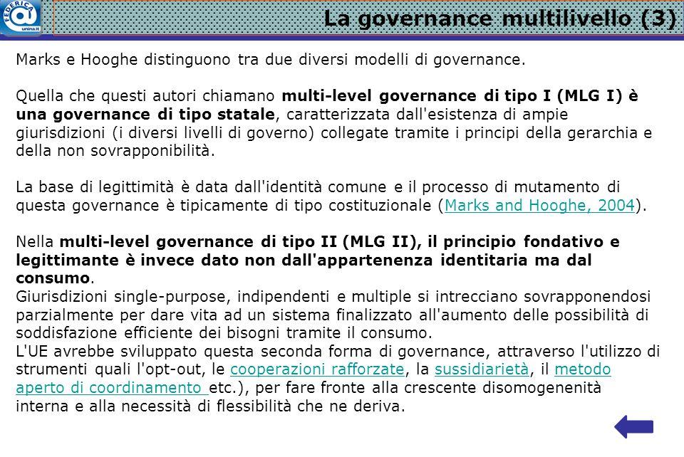 La governance multilivello (3) Marks e Hooghe distinguono tra due diversi modelli di governance. Quella che questi autori chiamano multi-level governa