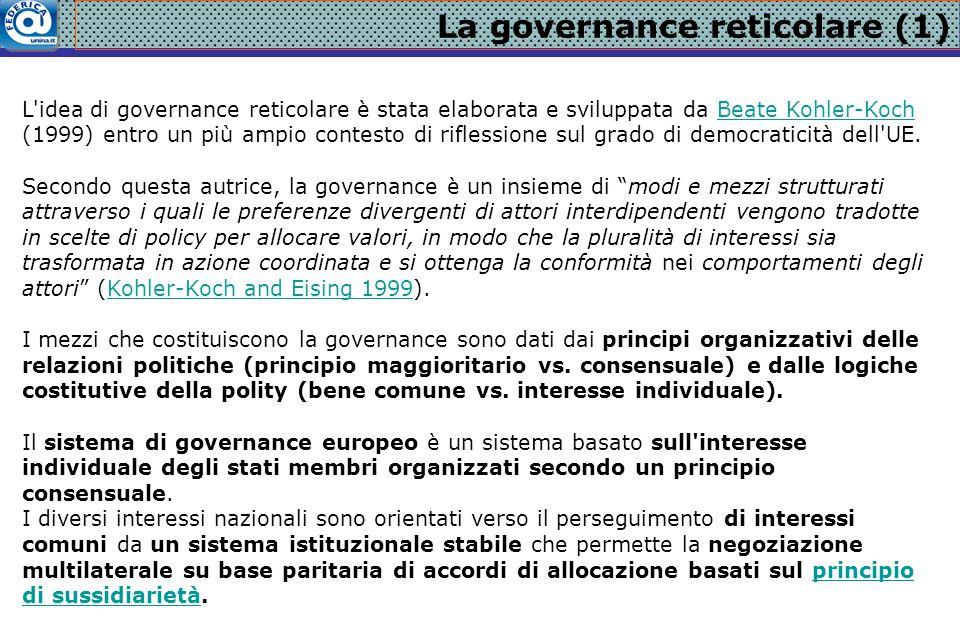 La governance reticolare (1) L'idea di governance reticolare è stata elaborata e sviluppata da Beate Kohler-Koch (1999) entro un più ampio contesto di