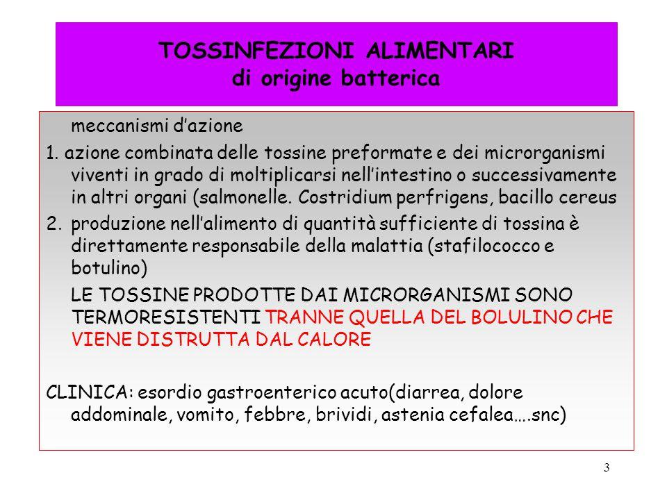 3 TOSSINFEZIONI ALIMENTARI di origine batterica meccanismi d'azione 1. azione combinata delle tossine preformate e dei microrganismi viventi in grado
