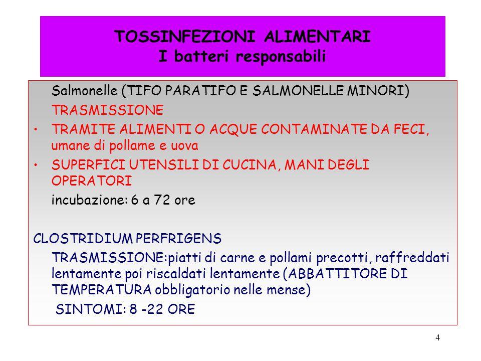4 TOSSINFEZIONI ALIMENTARI I batteri responsabili Salmonelle (TIFO PARATIFO E SALMONELLE MINORI) TRASMISSIONE TRAMITE ALIMENTI O ACQUE CONTAMINATE DA
