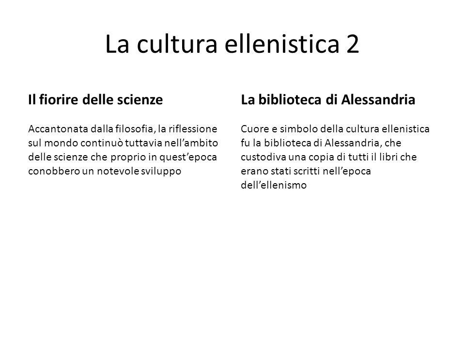 La cultura ellenistica 2 Il fiorire delle scienze Accantonata dalla filosofia, la riflessione sul mondo continuò tuttavia nell'ambito delle scienze ch