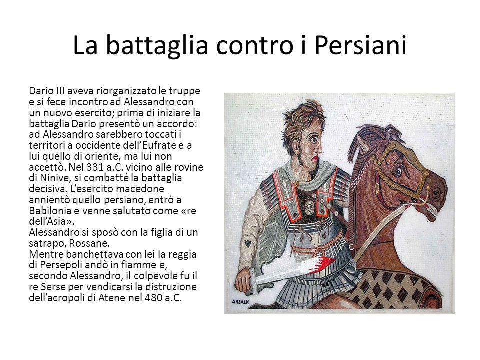La battaglia contro i Persiani Dario III aveva riorganizzato le truppe e si fece incontro ad Alessandro con un nuovo esercito; prima di iniziare la ba