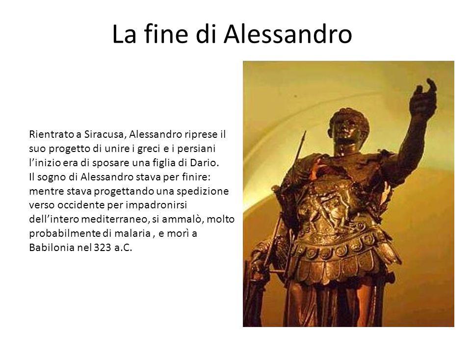 La fine di Alessandro Rientrato a Siracusa, Alessandro riprese il suo progetto di unire i greci e i persiani l'inizio era di sposare una figlia di Dar