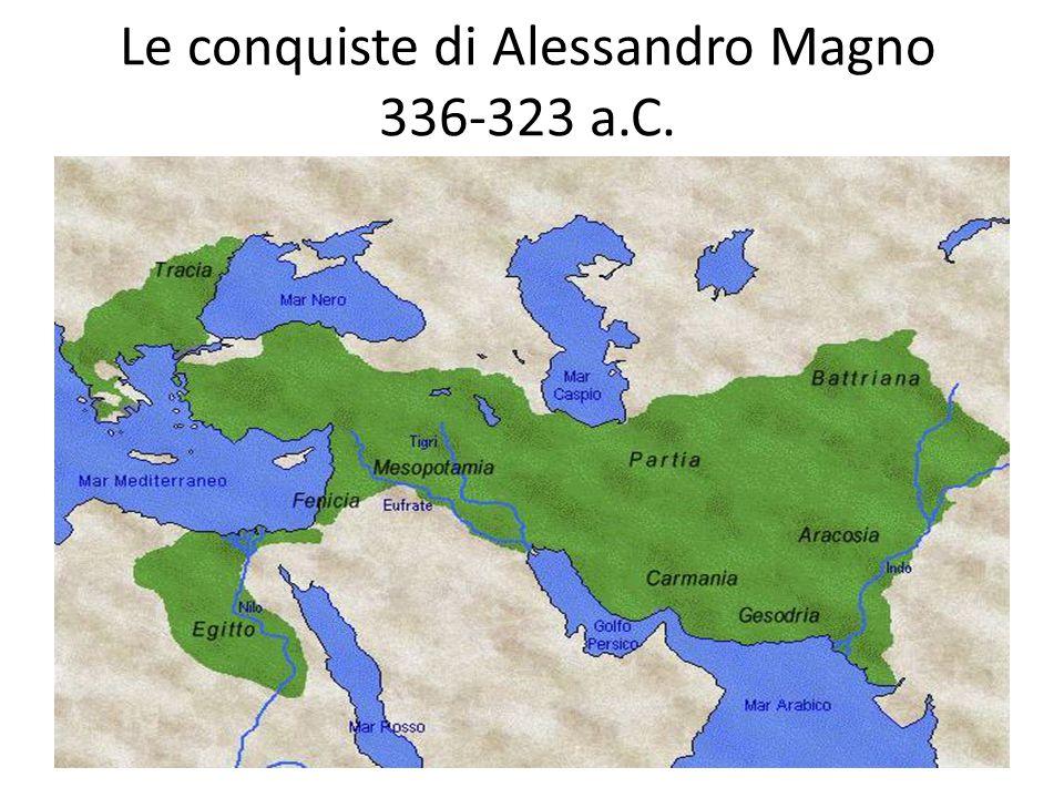 Il mondo ellenistico Dopo una lunga serie di guerre tra i pretendenti alla successione i territori conquistati da Alessandro Magno furono divisi nei tre principali regni di Macedonia, di Siria e d'Egitto.