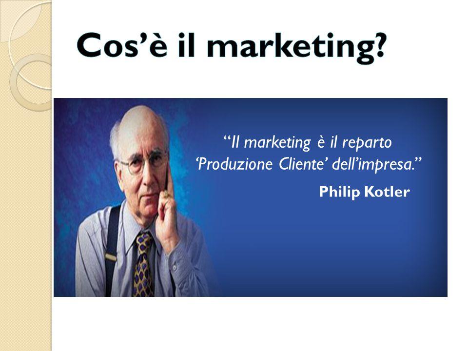 """""""Il marketing è il reparto 'Produzione Cliente' dell'impresa."""" Philip Kotler"""