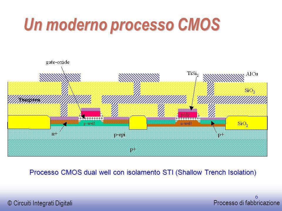 EE141 © Circuiti Integrati Digitali Processo di fabbricazione 37 Costo per transistor 0.0000001 0.000001 0.00001 0.0001 0.001 0.01 0.1 1 1982198519881991 1994 199720002003200620092012 costo (¢ / transistor Il costo di fabbricazione di un transistor segue la legge di Moore