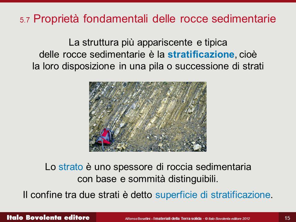 Alfonso Bosellini – I materiali della Terra solida - © Italo Bovolenta editore 2012 15 5.7 Proprietà fondamentali delle rocce sedimentarie La struttur