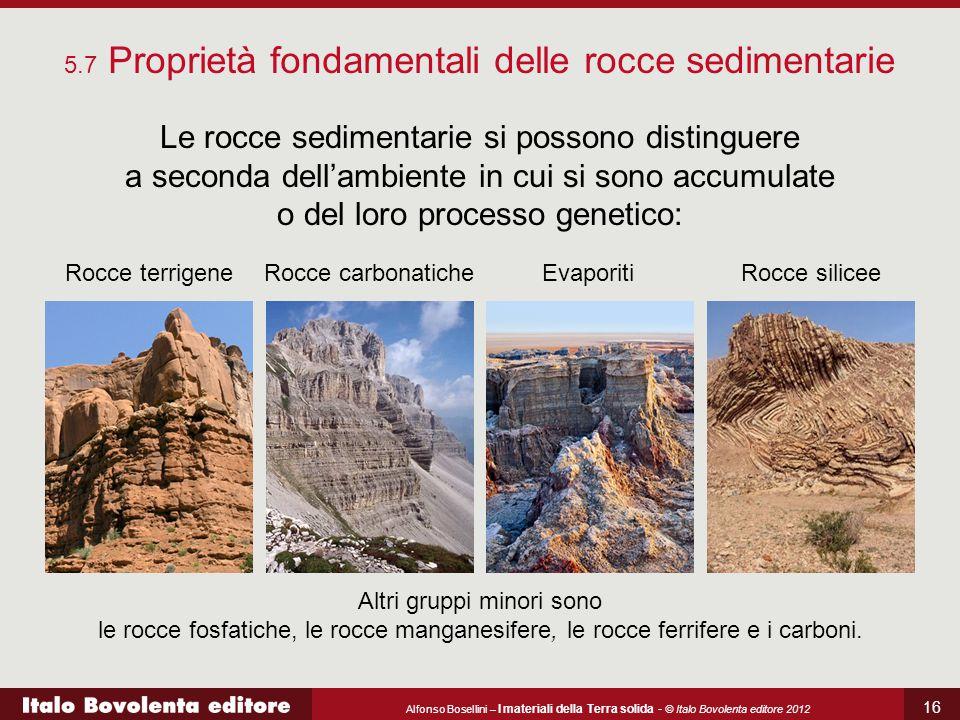 Alfonso Bosellini – I materiali della Terra solida - © Italo Bovolenta editore 2012 16 5.7 Proprietà fondamentali delle rocce sedimentarie Le rocce se
