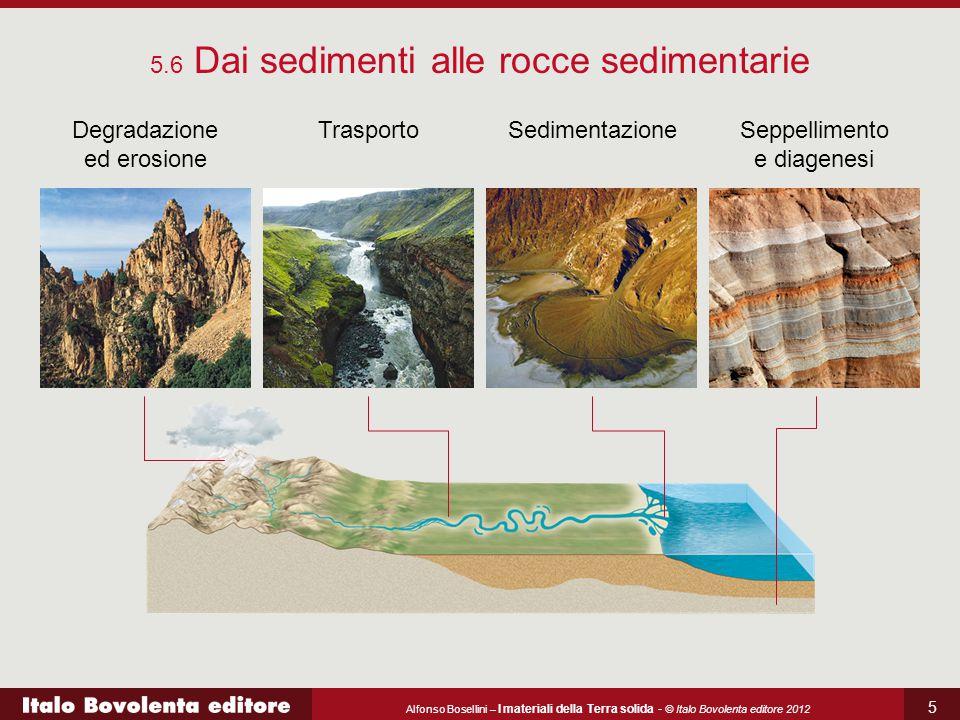 Alfonso Bosellini – I materiali della Terra solida - © Italo Bovolenta editore 2012 5 5.6 Dai sedimenti alle rocce sedimentarie Degradazione ed erosio