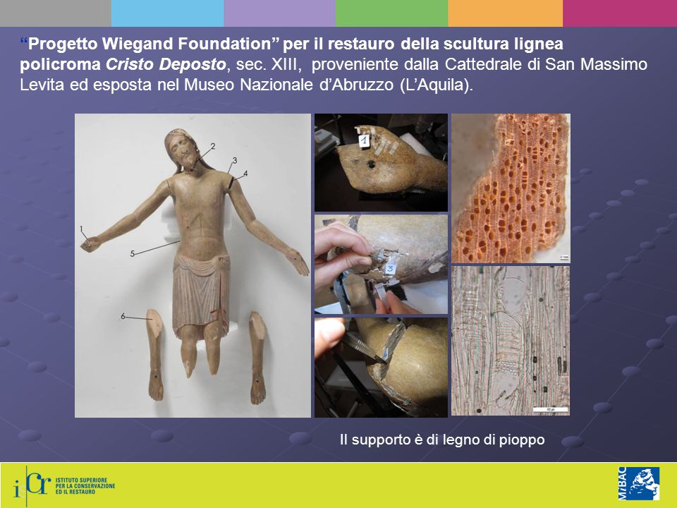 """""""Progetto Wiegand Foundation"""" per il restauro della scultura lignea policroma Cristo Deposto, sec. XIII, proveniente dalla Cattedrale di San Massimo L"""